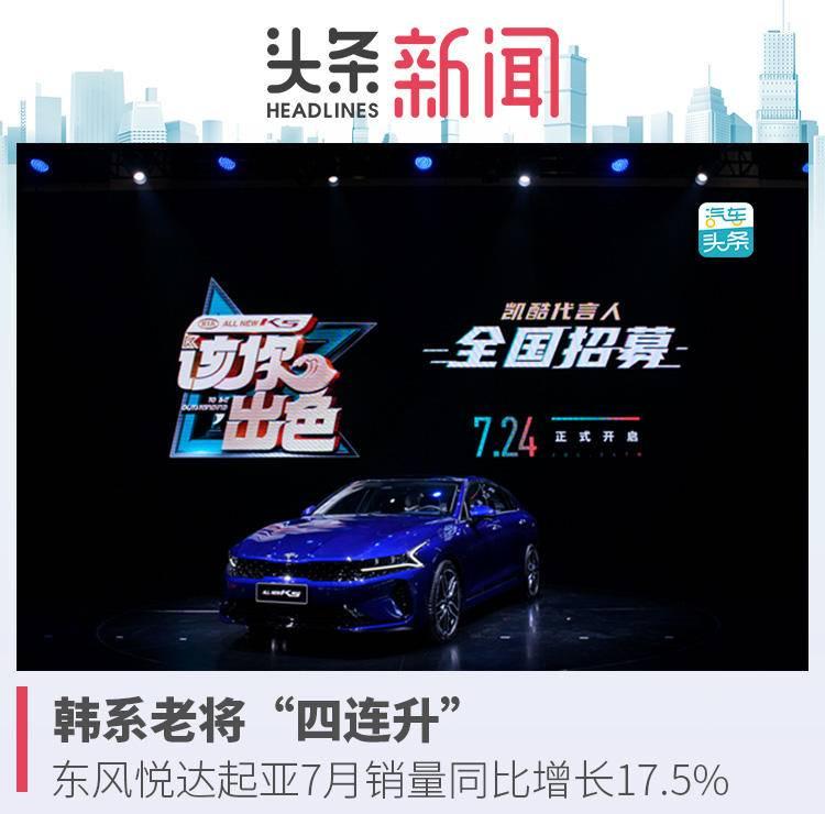 """韩系老将""""四连升"""",东风悦达起亚7月销量同比增长17.5%"""